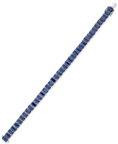 Sapphire Tennis Bracelet (28 ct. t.w.) in Sterling Silver, Created for Macy's