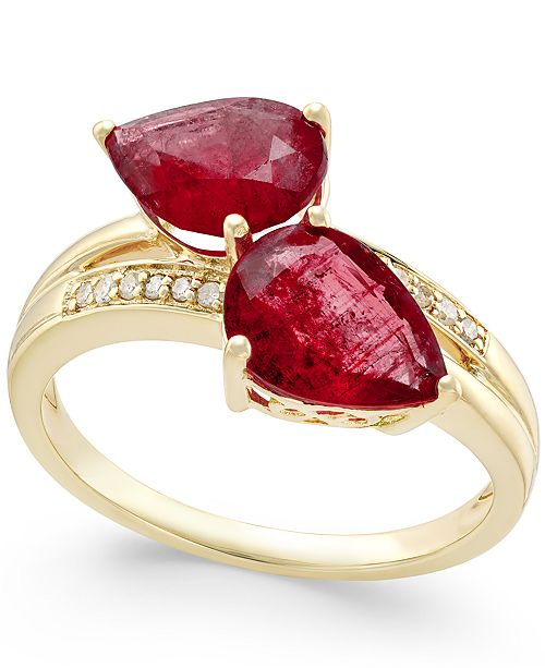 Macy's Ruby (4 ct. t.w.) and Diamond Accent Statement Ring in 14k Gold, Created for Macy's