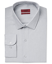 Alfani Men's Fitted Performance Stretch Easy Care Zig-Zag Dress Shirt, Created for Macy's