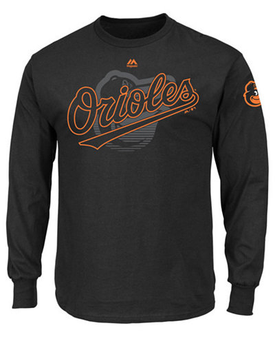 Majestic Men 39 S Long Sleeve Baltimore Orioles Pressing