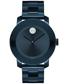 Movado Women's Swiss Bold Ink Blue Ion-Plated Stainless Steel Bracelet Watch 36mm 3600388