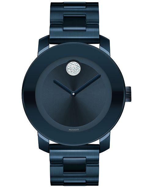 4443ef131 ... Movado Women s Swiss Bold Ink Blue Ion-Plated Stainless Steel Bracelet  Watch 36mm 3600388 ...