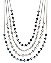 INC International Concepts Silver-Tone Multi-Row Jet Stone and Crystal Statement Necklace, Created for Macy's