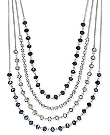 I.N.C. Silver-Tone Multi-Row Jet Stone and Crystal Statement Necklace, Created for Macy's