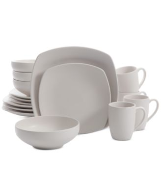 Signature Living 16-Pc. Majorca Matte Glaze Linen Square Dinnerware Set  sc 1 st  Macy\u0027s : gray square dinnerware sets - pezcame.com