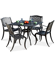Riker 5-Pc. Black-Finish Dining Set, Quick Ship