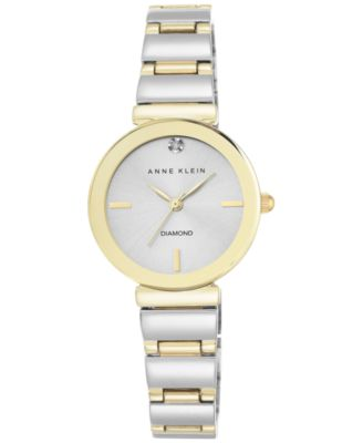 Image of Anne Klein Women's Diamond Accent Two-Tone Bracelet Watch 28mm AK-2435SVTT