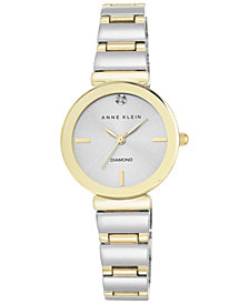 Anne Klein Women's Diamond Accent Two-Tone Bracelet Watch 28mm AK-2435SVTT