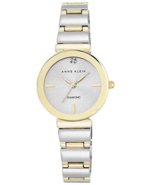 Anne Klein Women's Diamond Accent Two-Tone Bracelet Watch 28mm AK-2435SVTT