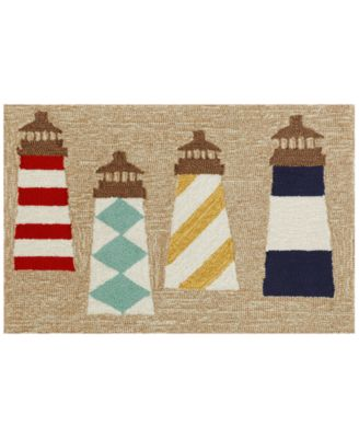 Liora Manne Front Porch Indoor/Outdoor Lighthouses Natural 2'6'' x 4' Area Rug