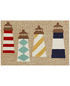 Liora Manne Front Porch Indoor/Outdoor Lighthouses Natural Area Rug