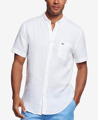 Lacoste men 39 s linen short sleeve shirt casual button for White short sleeve button down shirts for men