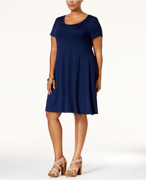 Style & Co Plus Size Short-Sleeve Swing Dress, Created for ...