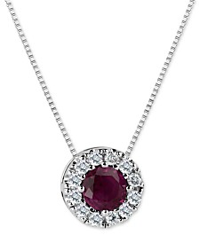 Ruby (3/5 ct. t.w.) and Diamond (1/5 ct. t.w.) Halo Pendant Necklace in 14k White Gold