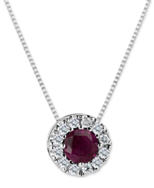 Ruby (3/5 ct. t.w.) and Diamond (1/5 ct. t.w.) Halo Pendant Necklace in 14k White Gold (Also Available in Emerald)
