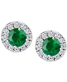 Emerald (1 ct. t.w.) and Diamond (1/3 ct. t.w.) Halo Stud Earrings in 14k White Gold
