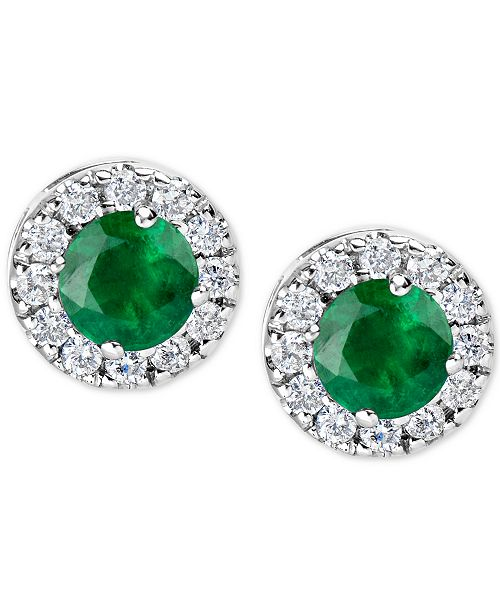 Macy's Emerald (1 ct. t.w.) and Diamond (1/3 ct. t.w.) Halo Stud Earrings in 14k White Gold