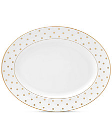 """kate spade new york Larabee Road Gold Collection Bone China 13"""" Oval Platter"""