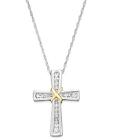 Diamond Cross Pendant Necklace (1/10 ct. t.w.) in 14k White and Yellow Gold