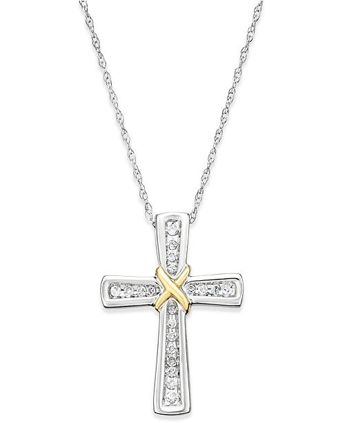 Macy's Diamond Cross Pendant Necklace (1/10 ct. t.w.) in 14k White and Yellow Gold