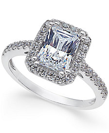 Arabella Swarovski Zirconia Square Ring in 14k White Gold, Created for Macy's