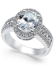 Arabella Swarovski Zirconia Oval Halo Ring in Sterling Silver, Created for Macy's