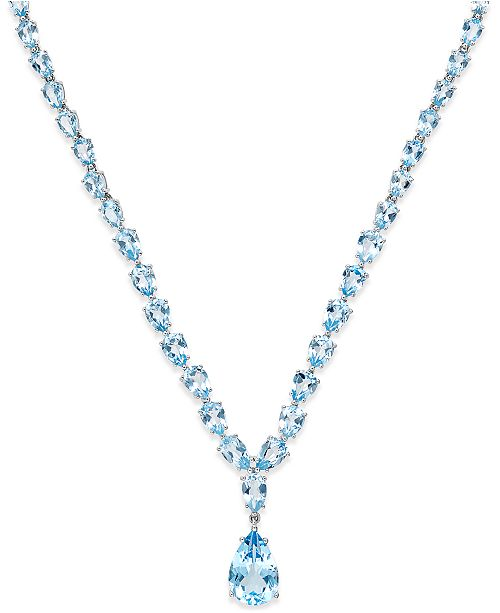 5583882e3 Macy's Blue Topaz Statement Necklace (30 ct. t.w.) in Sterling Silver