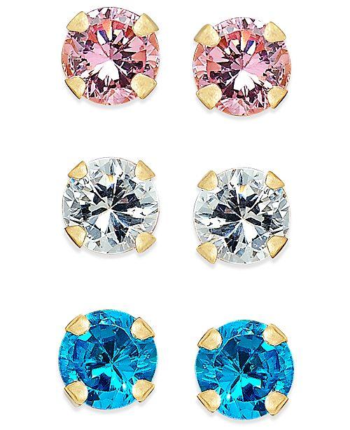 Macy's Cubic Zirconia 3-Pc. Set Colored Stud Earrings in 10k Gold