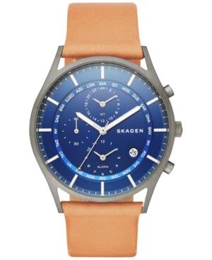 Skagen Men's Chronograph Holst Natural Leather Strap Watch