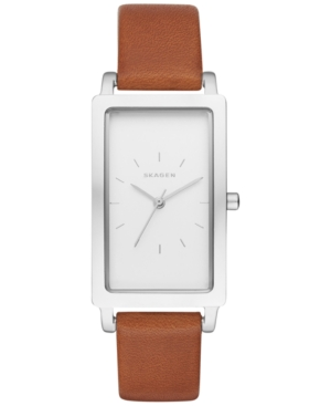 Skagen Women's Hagen Brown Leather Strap Watch 22x43mm SKW24