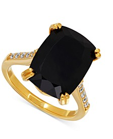 Onyx (7-1/2 ct. t.w.) and Cubic Zirconia Statement Ring in 14k Gold-Plated Sterling Silver