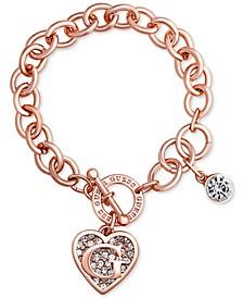 Rose Gold-Tone Link Charm Bracelet
