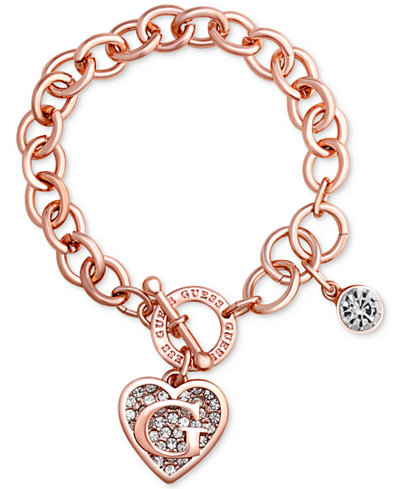 Guess rose gold tone link charm bracelet jewelry watches macys guess rose gold tone link charm bracelet aloadofball Images