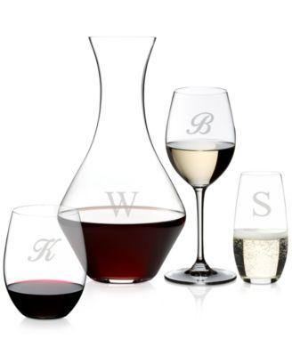 Vinum Monogram Collection 2-Pc. Script Letter Pinot Noir Wine Glasses