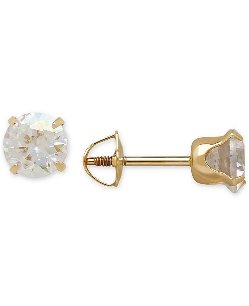 white round earrings gold in item stud cz solid back cubic zirconia screw