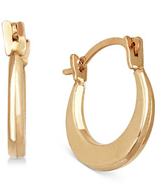 Children's Small Round Hoop Earrings in 14k Gold