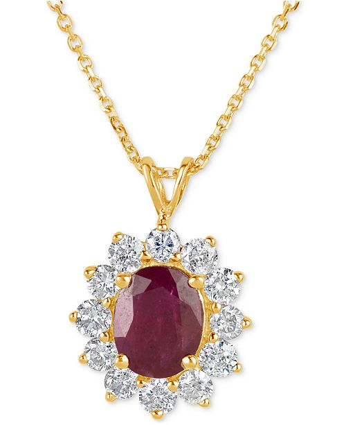 Macy's Ruby (2-1/5 ct. t.w.) and Diamond (1 ct. t.w.) Pendant Necklace in 14k Gold