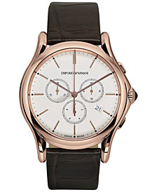 Emporio Armani Men's Swiss Chronograph Classic Dark Brown Leather Strap Watch 44mm ARS4014