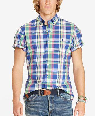 Polo Ralph Lauren Men's Short Sleeve Plaid Poplin Sport Shirt ...