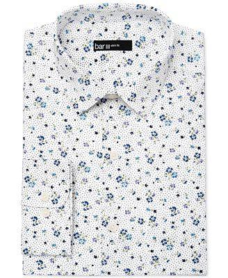 Bar III Men's Slim-Fit White Ground Floral Print Dress Shirt ...