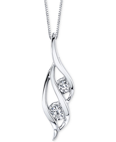 Sirena Two-Stone Diamond Pendant Necklace (1/3 ct. t.w.) in 14k Gold or White Gold