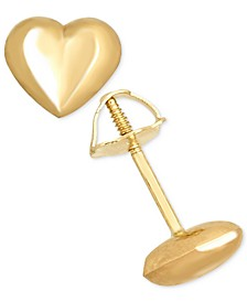 Children's High Polished Puff Heart Stud Earrings in 14k Gold