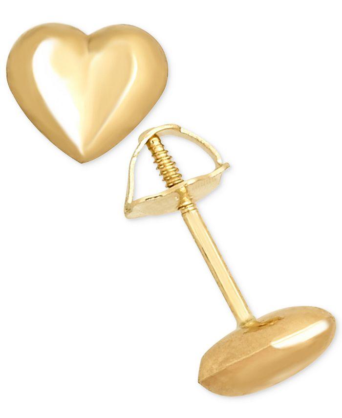 Macy's - High Polished Puff Heart Stud Earrings in 14k Gold