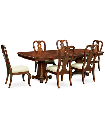 Bordeaux Double Pedestal 7 Pc Dining Set Table 6 Queen Anne