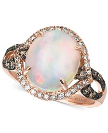 Le Vian Chocolatier® Opal (2-1/3 ct. t.w.), Chocolate Diamonds®  and Vanilla Diamonds® (1/2 ct. t.w.) Ring in 14k Rose Gold, Created for Macy's