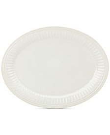 "French Perle Groove Collection 16"" White Oval Platter"