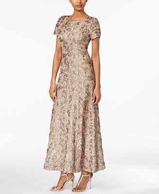 Alex Evenings Petite Rosette Lace A Line Gown Dresses Petites