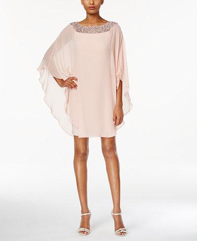 Xscape Embellished Chiffon Cape-Overlay Dress, Regular & Petite Sizes