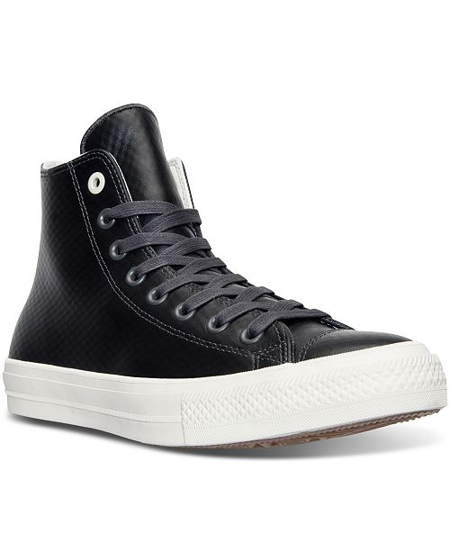 56459e2d2e36 ... Converse Men s Chuck Taylor All Star II High Top Mesh Backed Leather  Casual Sneakers from Finish ...