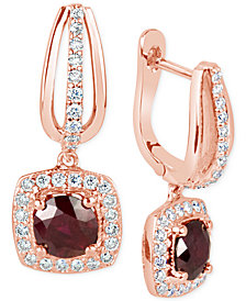 Ruby (1-3/8 ct. t.w.) and Diamond (1/2 ct. t.w.) Square Drop Earrings in 14k Rose Gold